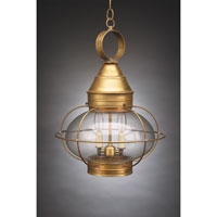 Onion 2 Light 15 inch Antique Brass Hanging Lantern Ceiling Light in Clear Glass, Candelabra