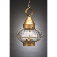 Onion 2 Light 15 inch Antique Brass Hanging Lantern Ceiling Light in Optic Glass, Candelabra