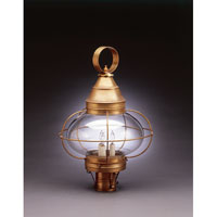 Onion 3 Light 22 inch Antique Brass Post Lantern in Clear Glass, Candelabra