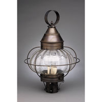 Onion 3 Light 22 inch Dark Brass Post Lantern in Optic Glass, Candelabra