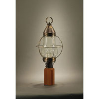 Bosc 3 Light 25 inch Dark Antique Brass Post Lantern in Clear Glass, Candelabra