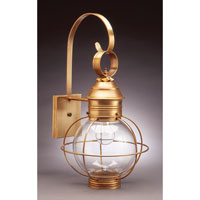 Northeast Lantern Onion 1 Light Outdoor Wall Lantern in Antique Brass 2831-AB-MED-CLR