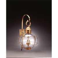 Onion 3 Light 28 inch Antique Brass Outdoor Wall Lantern in Clear Glass, Candelabra