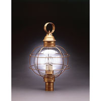 Onion 3 Light 25 inch Antique Brass Post Lantern in Clear Glass, Candelabra