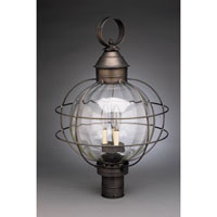 Onion 3 Light 25 inch Dark Brass Post Lantern in Optic Glass, Candelabra