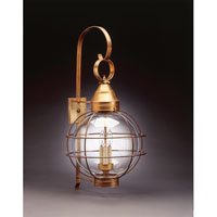 Onion 3 Light 35 inch Antique Brass Outdoor Wall Lantern in Clear Glass, Candelabra
