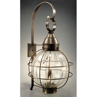 Onion 3 Light 35 inch Dark Brass Outdoor Wall Lantern in Optic Seedy Glass, Candelabra
