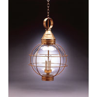 Onion 3 Light 18 inch Antique Brass Hanging Lantern Ceiling Light in Clear Glass, Candelabra