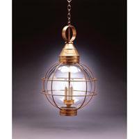 Northeast Lantern 2862-AB-LT3-CLR Onion 3 Light 18 inch Antique Brass Hanging Lantern Ceiling Light in Clear Glass, Candelabra
