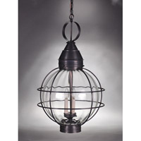 Northeast Lantern 2862-DB-LT3-OPT Onion 3 Light 18 inch Dark Brass Hanging Lantern Ceiling Light in Optic Glass, Candelabra photo thumbnail