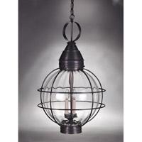 Northeast Lantern 2862-DB-LT3-OPT Onion 3 Light 18 inch Dark Brass Hanging Lantern Ceiling Light in Optic Glass, Candelabra