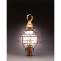 Onion 3 Light 30 inch Antique Brass Post Lantern in Clear Glass, Candelabra