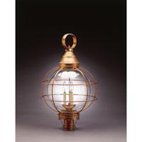 Northeast Lantern 2863-AB-LT3-CLR Onion 3 Light 30 inch Antique Brass Post Lantern in Clear Glass, Candelabra