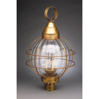 Onion 3 Light 30 inch Antique Brass Post Lantern in Optic Glass, Candelabra
