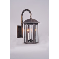 Aurora 2 Light 11 inch Dark Antique Brass Wall Lantern Wall Light in Clear Seedy Glass, Candelabra