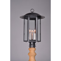 Aurora 3 Light 21 inch Dark Brass Post Mount in Clear Glass, No Chimney, Candelabra