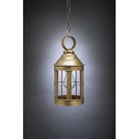 Northeast Lantern 3312-AB-MED-CLR Heal 1 Light 6 inch Antique Brass Hanging Lantern Ceiling Light in Clear Glass, Medium