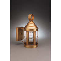 Heal 1 Light 13 inch Antique Brass Outdoor Wall Lantern in Clear Glass, No Scroll