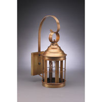 Heal 1 Light 16 inch Antique Brass Outdoor Wall Lantern in Clear Glass, Standard Scroll
