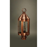 Northeast Lantern 3333-AC-CIM-CLR Heal 1 Light 21 inch Antique Copper Post Lantern in Clear Glass, Chimney, Medium photo thumbnail