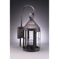 Northeast Lantern 3337-DB-CIM-CLR Heal 1 Light 21 inch Dark Brass Outdoor Wall Lantern in Clear Glass Scroll Chimney Medium