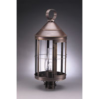 Heal 1 Light 25 inch Dark Antique Brass Post Lantern in Clear Glass, Chimney, Medium