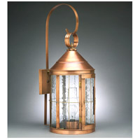 Heal 1 Light 27 inch Antique Copper Outdoor Wall Lantern in Clear Seedy Glass, Chimney, Medium