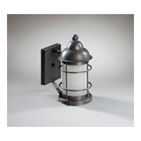 Nautical 1 Light 11 inch Dark Brass Outdoor Wall Lantern in Frosted Glass