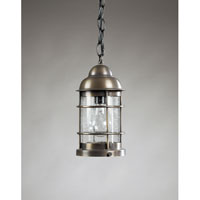 Nautical 1 Light 6 inch Dark Brass Hanging Lantern Ceiling Light in Clear Seedy Glass