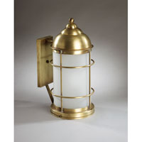 Nautical 1 Light 18 inch Antique Brass Outdoor Wall Lantern in Frosted Glass, Medium