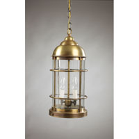 Nautical 2 Light 8 inch Antique Brass Hanging Lantern Ceiling Light in Clear Seedy Glass