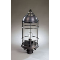 Nautical 1 Light 22 inch Dark Brass Post Lantern in Clear Glass