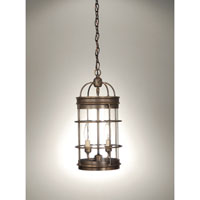 Signature 2 Light 8 inch Dark Antique Brass Chandelier Ceiling Light in Clear Glass