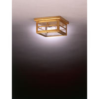 Williams 1 Light 9 inch Antique Brass Flush Mount Ceiling Light in Seedy Marine Glass