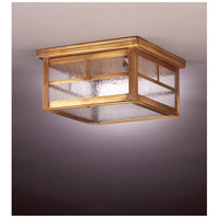 Williams 2 Light 11 inch Antique Brass Flush Mount Ceiling Light in Seedy Marine Glass, Dimensions are 11