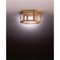 Williams 2 Light 13 inch Antique Brass Flush Mount Ceiling Light in Seedy Marine Glass