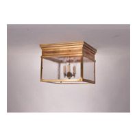 Elryan 3 Light 13 inch Antique Brass Flush Mount Ceiling Light in Seedy Marine Glass, Candelabra
