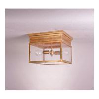 Elryan 2 Light 13 inch Antique Brass Flush Mount Ceiling Light in Seedy Marine Glass, Medium