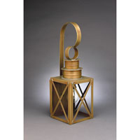 Suffolk 1 Light 18 inch Antique Brass Outdoor Wall Lantern in Clear Glass, Medium