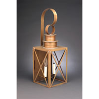 Suffolk 2 Light 24 inch Antique Brass Outdoor Wall Lantern in Clear Glass, No Chimney, Candelabra
