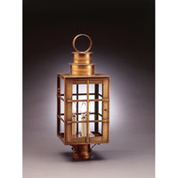 Suffolk 3 Light 23 inch Antique Brass Post Lantern in Clear Glass, No Chimney, Candelabra