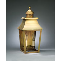 Sharon 2 Light 17 inch Antique Brass Outdoor Wall Lantern in Clear Glass, No Chimney, Candelabra