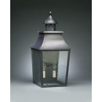 Sharon 2 Light 21 inch Dark Brass Outdoor Wall Lantern in Clear Seedy Glass, No Chimney, Candelabra