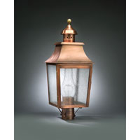 Sharon 1 Light 25 inch Antique Copper Post Lantern in Clear Seedy Glass, Chimney, Medium
