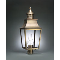 Sharon 1 Light 28 inch Dark Antique Brass Post Lantern in Clear Glass, Chimney, Medium