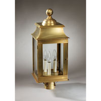 Concord 3 Light 23 inch Antique Brass Post Lantern in Clear Glass, No Chimney, Candelabra