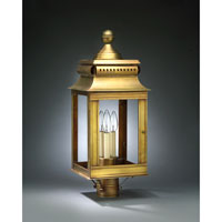 Concord 3 Light 24 inch Antique Brass Post Lantern in Clear Glass, No Chimney, Candelabra