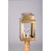 Concord 3 Light 20 inch Raw Brass Post Mount in Clear Glass, No Chimney, Candelabra