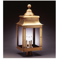 Concord 3 Light 28 inch Antique Brass Post Lantern in Clear Glass, No Chimney, Candelabra