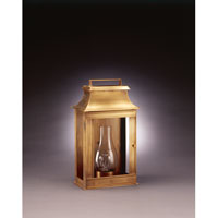Concord 1 Light 16 inch Antique Brass Outdoor Wall Lantern in Clear Glass, Chimney, Medium